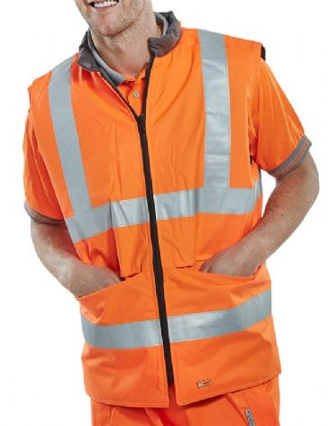 B Seen Railspec GO/RT Hi Vis Reversible Bodywarmer